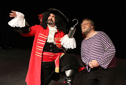 "Captain Hook (Michael Cross) and his right-hand man Smee (Jason Markel) are up to no good in the Davis Musical Theatre Company's production of ""Peter Pan."" Fred Gladdis/Enterprise photo"