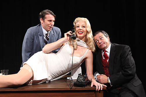 "Bob Amaral stars as Max Bialystock, Matt Loehr as Leo Bloom and Sarah Cornell as Ulla in ""The Producers,"" playing through July 17 at Music Circus in Sacramento. Charr Crail/Courtesy photo"