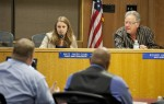 Maite Knorr-Evans, the student representative on the Board of Education, asks administrators how potential furloughs will affect the scheduling of standardized testing. Wayne Tilcock/Enterprise photo