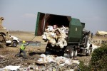 Big green garbage trucks arrive at the landfill daily, bringing trash from all over the county. Sue Cockrell/Enterprise photo
