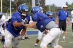 DHS' Oscar Sepulveda, left, and Carson Murray go at it during an early-season practice. With undefeated Franklin looming on Friday, Blue Devil coaches are urging their guys to bounce back after a lackluster Monday workout. Fred Gladdis/Enterprise file photo