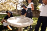 A fiberglass bird bath was damaged when vandals toppled it at Merryhill School in South Davis. The bird bath was part of the third-graders' certified wildlife habitat. Fred Gladdis/Enterprise photo