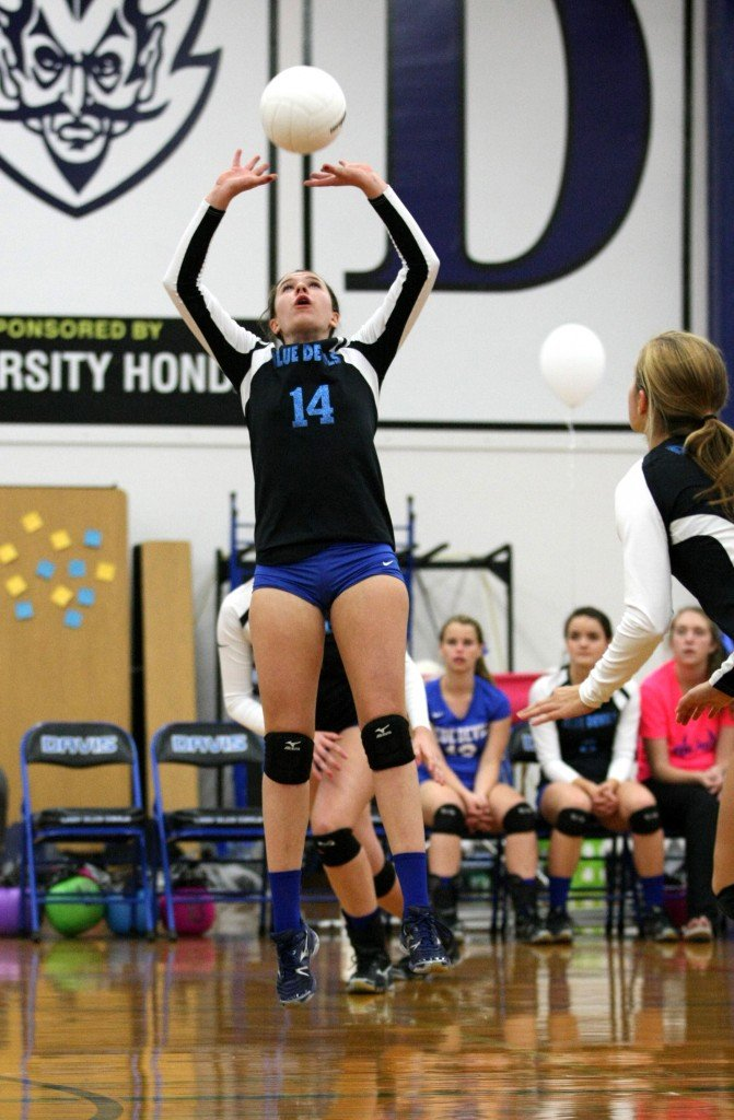 DHS sophomore Makena Sherwood sets the ball to a teammate during a win over Monterey Trail last week. The Blue Devils will host Napa in a playoff match on Tuesday. Wayne Tilcock/Enterprise file photo