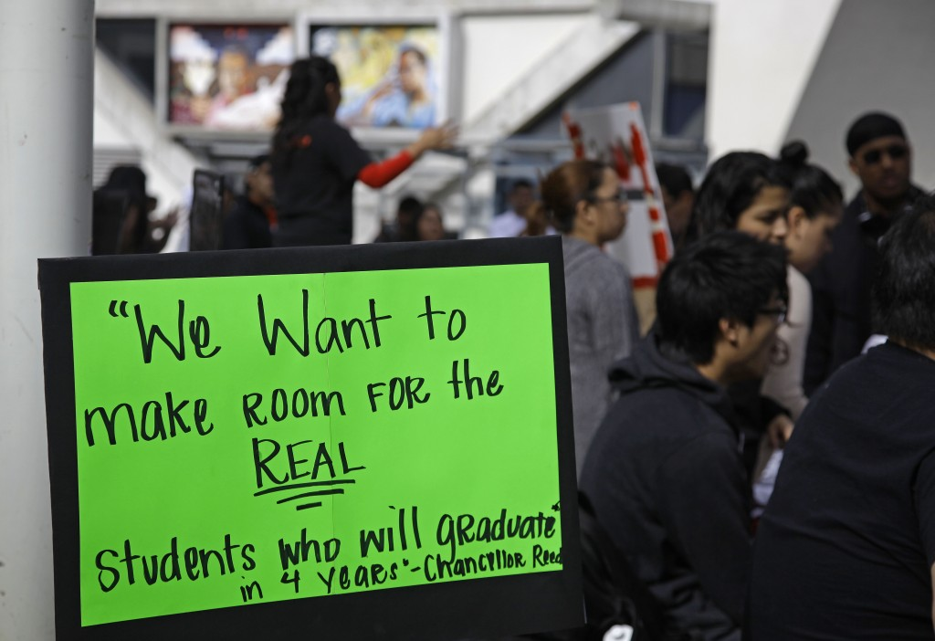 San Francisco State students gather for a rally Thursday against higher fees across the CSU system.  AP photo