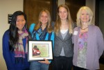 Freedom from Hunger honored members of the Davis High School Freedom from Hunger Club at the recent Yolo County Philanthropy Day event. From left are Mo Xu, co-president; Laney Teaford, co-president; McKenzie Barlow, vice president; and Christine M. Dodson, manager of donor communications at the Davis-based nonprofit. Courtesy photo
