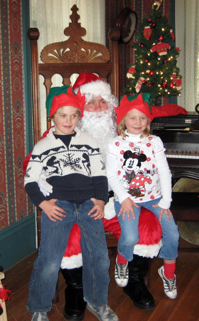 Riley Dodge and Olivia Huber had their pictures taken with Santa last year at The Gibson House Museum. This year Santa arrives at the museum grounds 512 Gibson Road, at 11 a.m. Saturday, Dec. 1, and will take photos until 2 p.m. The holiday fair runs from 10 a.m. to 3 p.m. Courtesy photo
