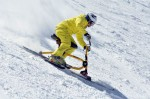 Floran Schwarzenbacher rides a snowbike at Arapahoe Basin Ski Area in Colorado. AP photo