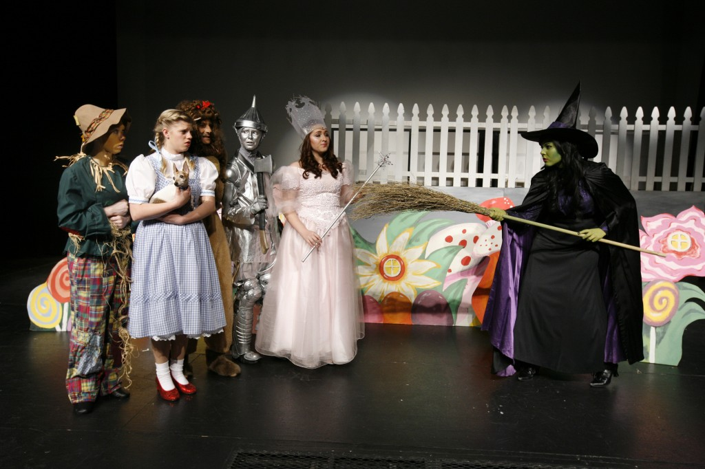 "The Wicked Witch (Dre Caven) confronts the merry band of the Scarecrow (Cooper Johnson), Dorothy (Petra Favorite), the Cowardly Lion (Noah Papagni), the Tin Man (Rebecca Paskowitz) and Glinda (Sarah Green) in  the Davis Musical Theatre  Company's Young Performers production of ""The Wizard of Oz."" Fred Gladdis/Enterprise photo"