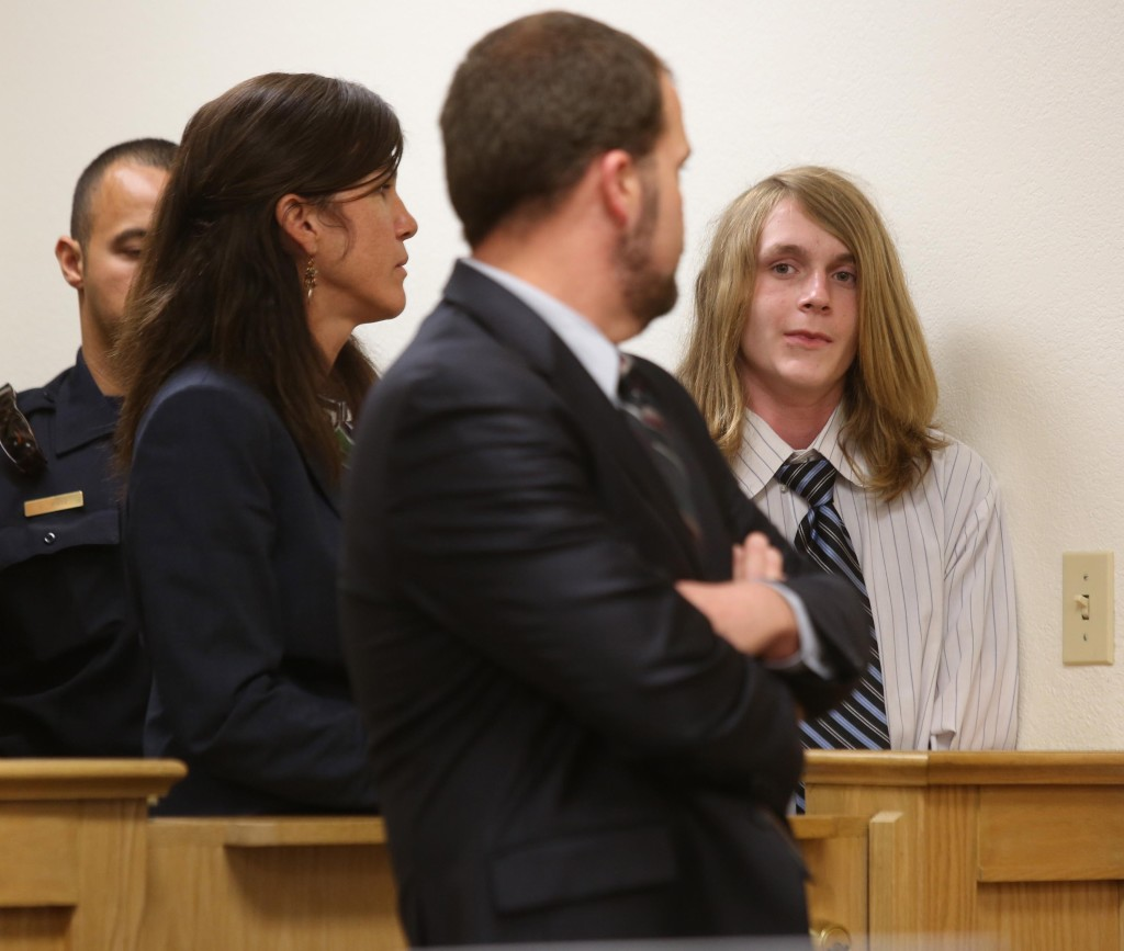 "Yolo County Deputy Public Defenders Ron Johnson and Andrea Pelochino stand with Daniel Marsh, 16, during his arraignment hearing Wednesday in Yolo Superior Court. He is charged with the  brutal stabbing deaths of Oliver ""Chip"" Northup and his wife Claudia Maupin in their Davis home. Fred Gladdis/Enterprise photo"
