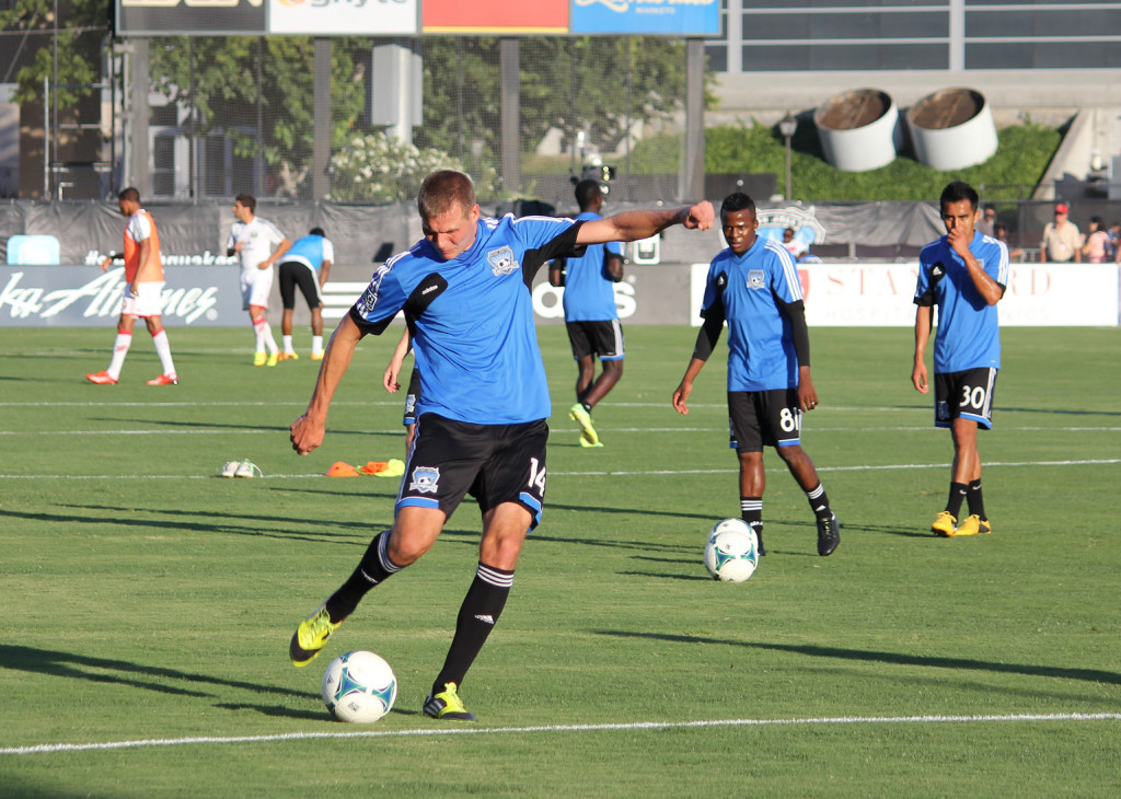 Adam Jahn takes a shot in warm-ups before the Earthquakes' game against Portland on July 27. Evan Ream/Courtesy photo