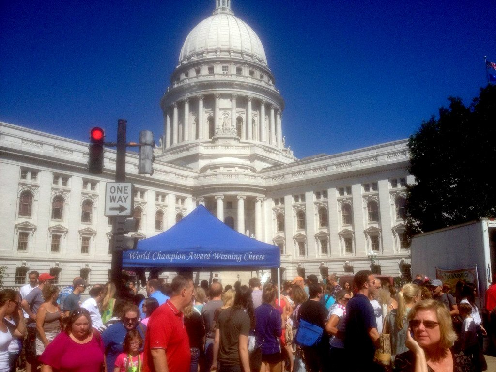 The Dane County farmers market in Madison, Wis., fills four long blocks that form a square around the state Capitol. Dan Kennedy/Courtesy photo